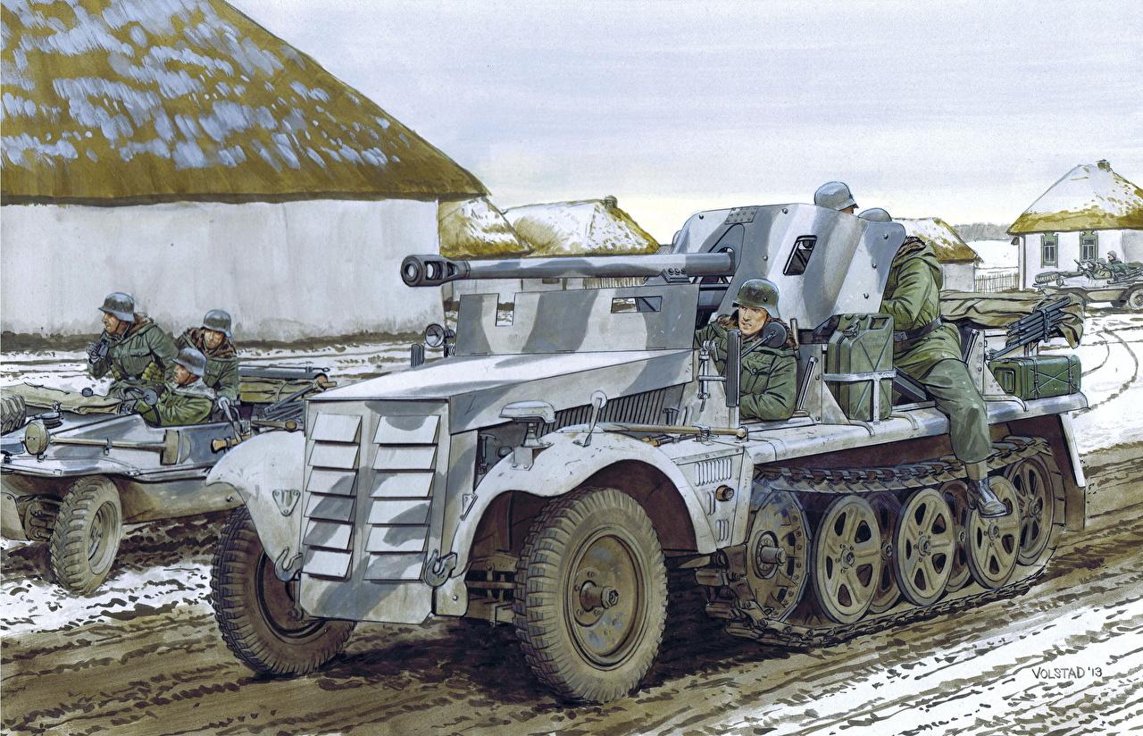 Fotos Waffe Deutsch 5cm PaK 38 (Sf) auf Zugkraftwagen 1t Gezeichnet Heer
