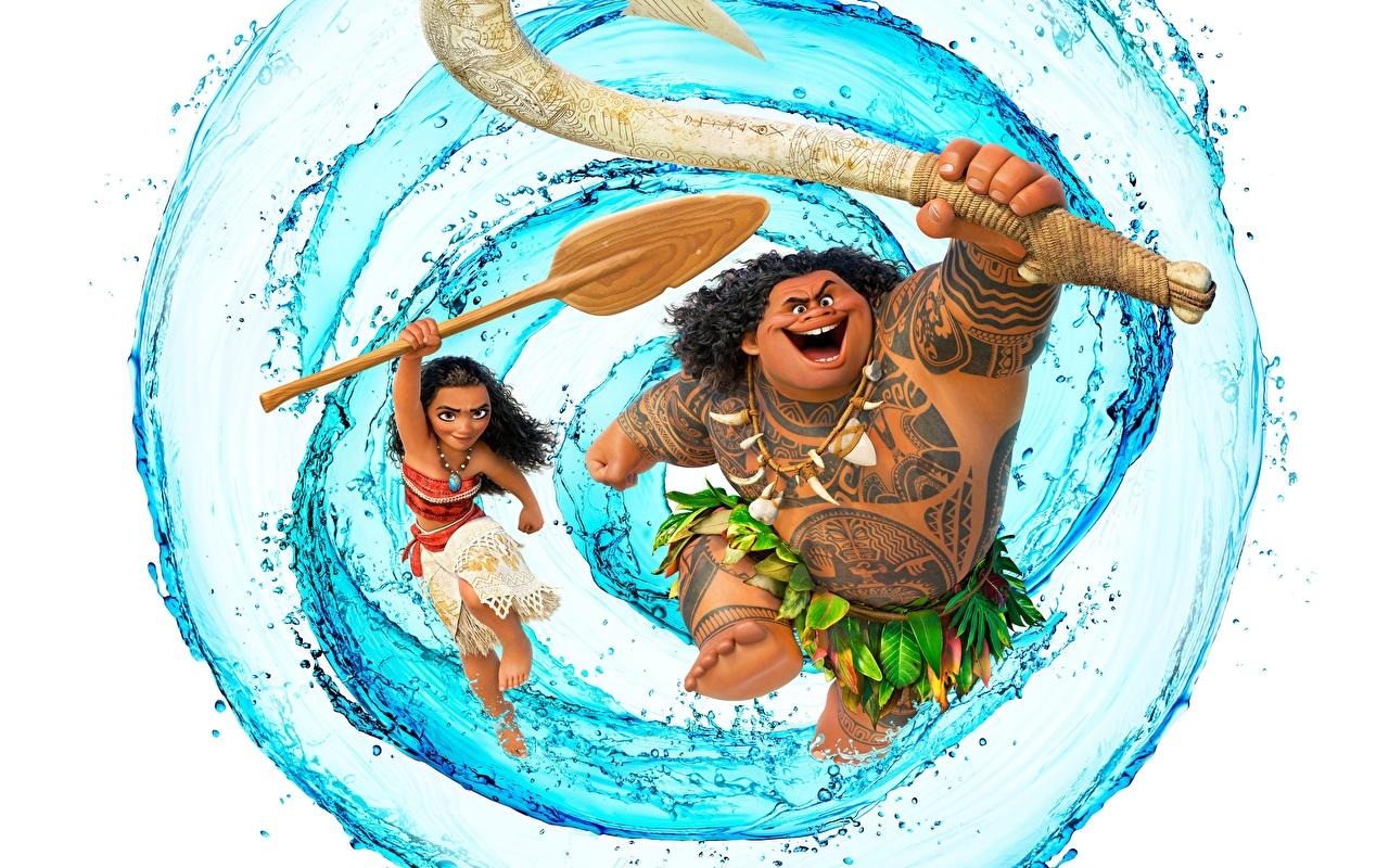 Bilder Vaiana – Das Paradies hat einen Hak Maui Mädchens Animationsfilm Wasser 1280x800 Zeichentrickfilm