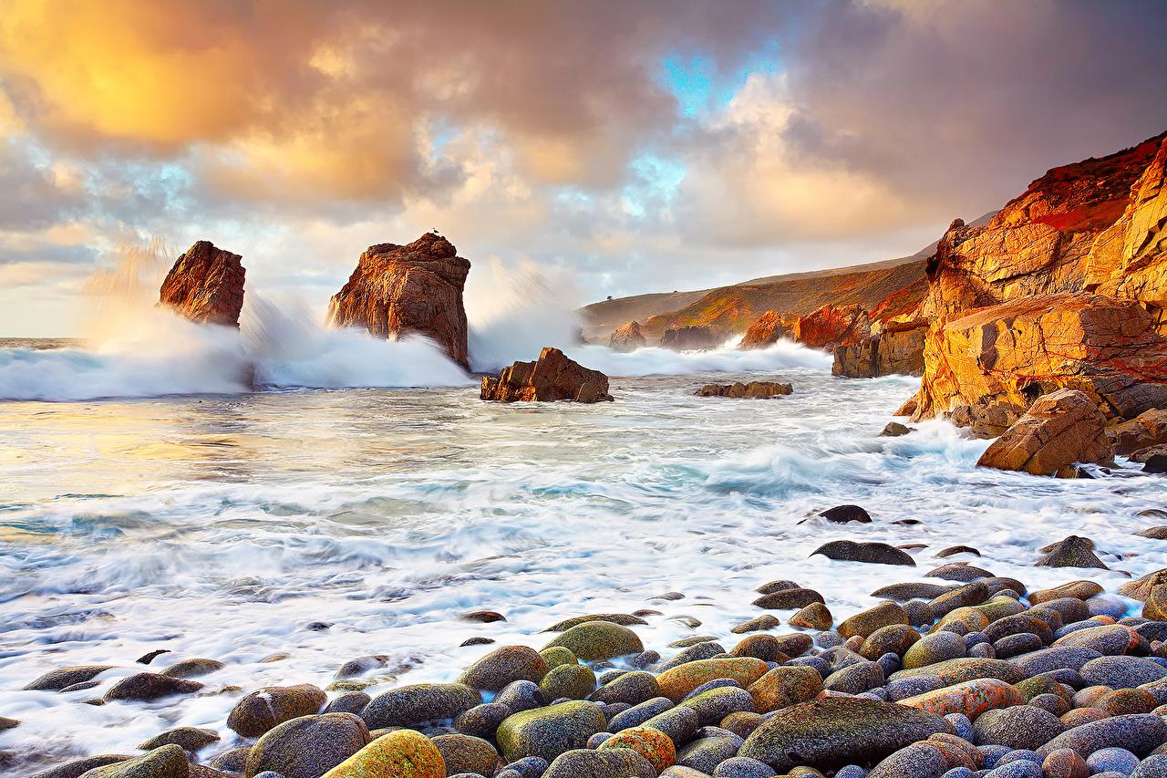 Achtergronden Californië verenigde staten De zee Natuur Landschap van Stenen De kust Amerika steen