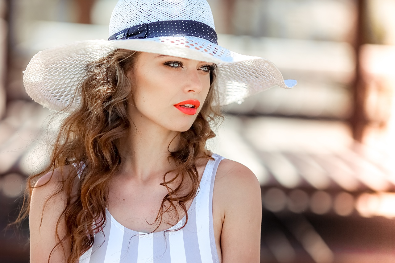Picture Brown haired Bokeh curls Hat Hair Girls Glance blurred background Curly female young woman Staring