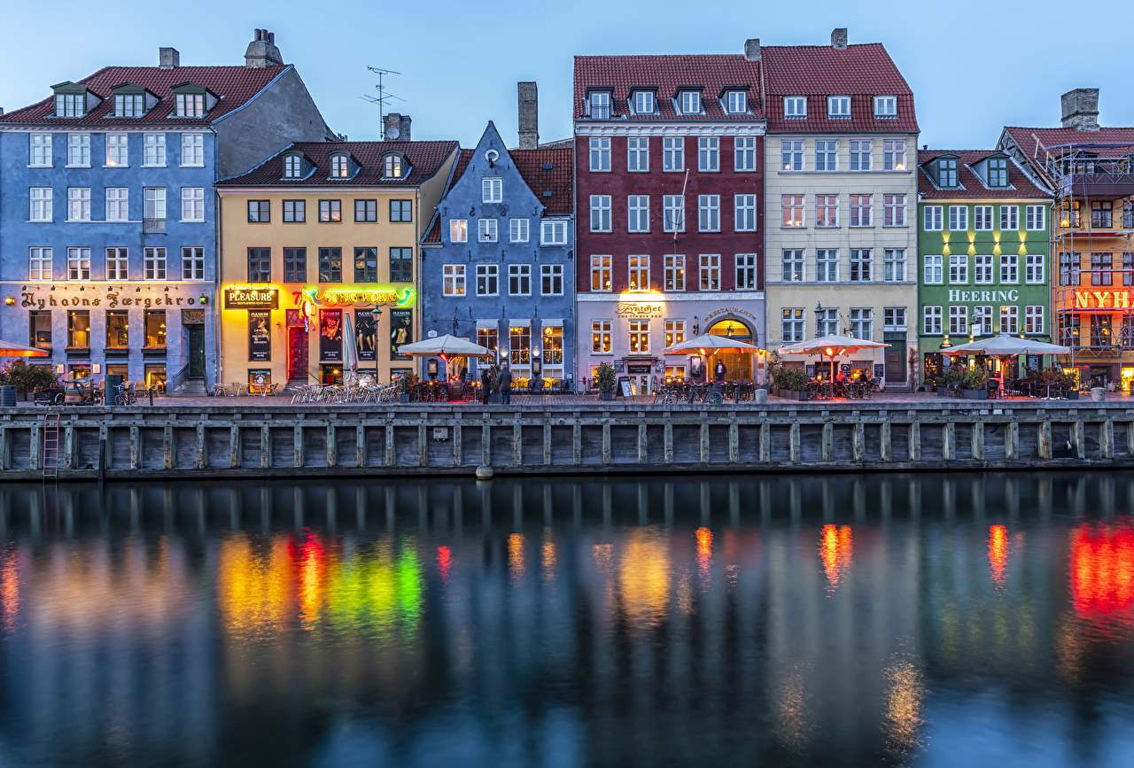 Pictures Copenhagen Denmark Cafe Canal Street Evening Waterfront Houses Cities Building