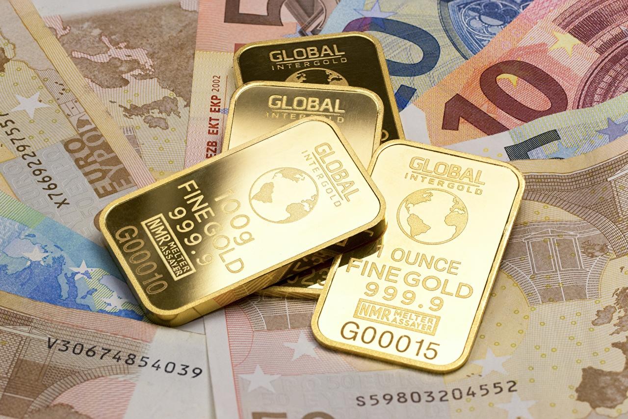 Bilder von Euro Papiergeld Gold Barren Metall Geld Banknoten Geldscheine