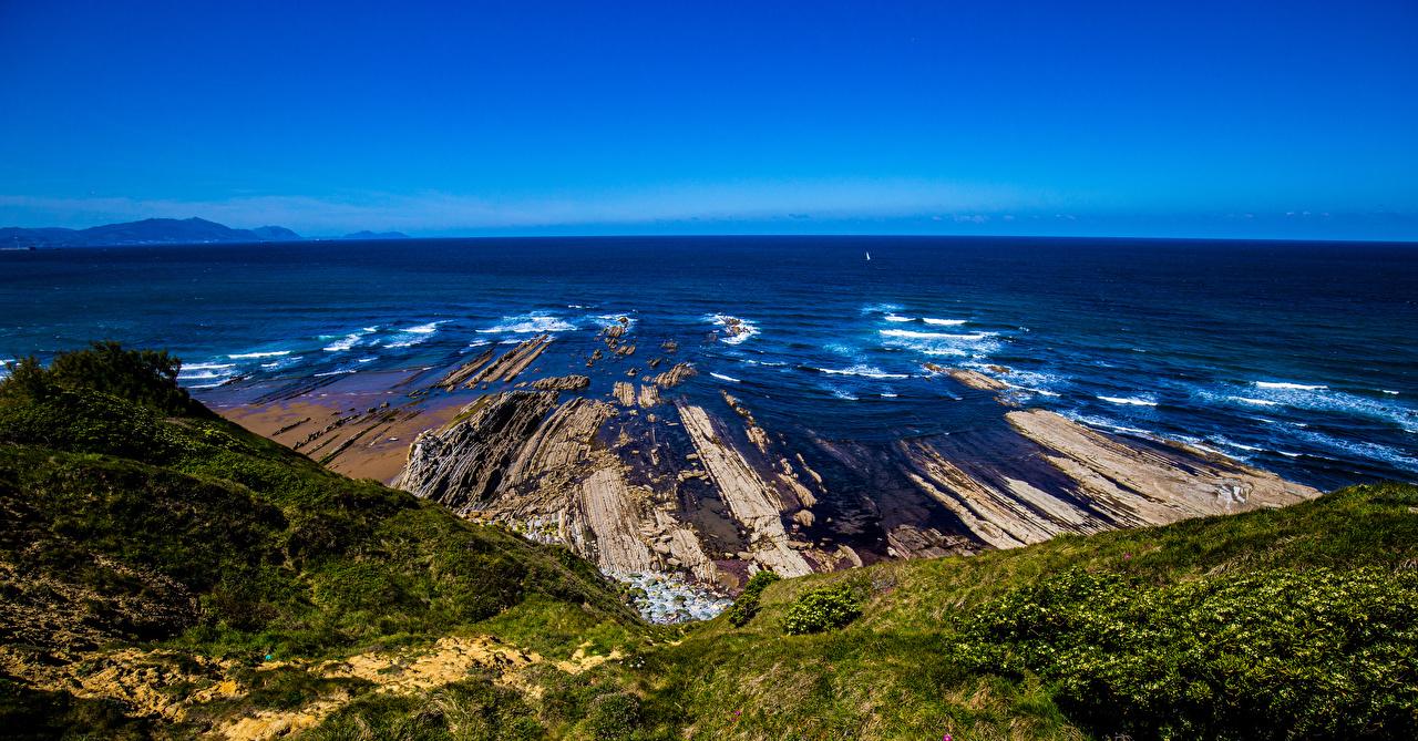 Desktop Wallpapers Spain Sopela Crag Ocean Nature Coast Horizon Rock Cliff