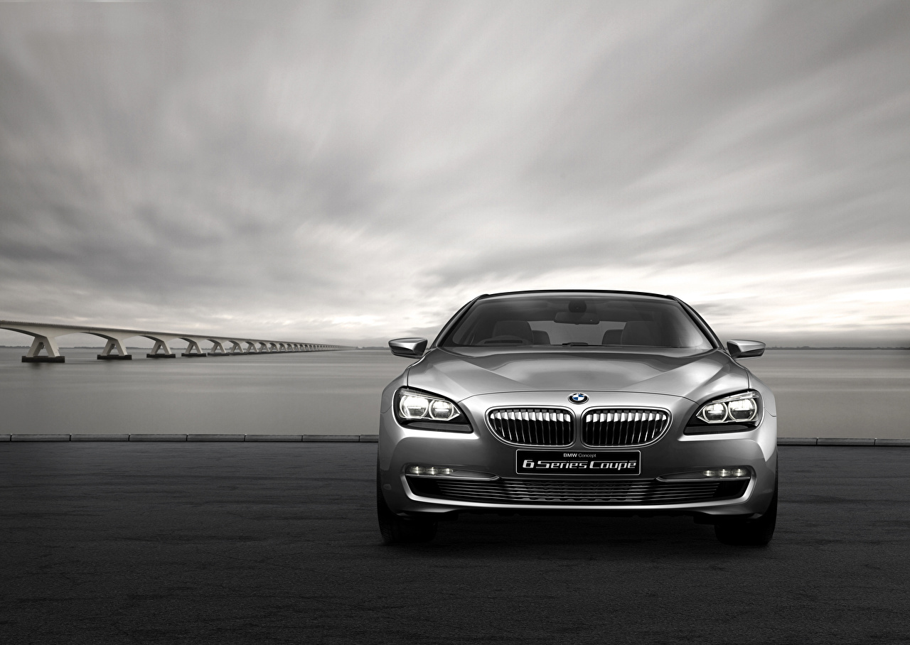 Desktop Wallpapers BMW Concept F13 6-Series Coupe gray Cars Front Grey auto automobile