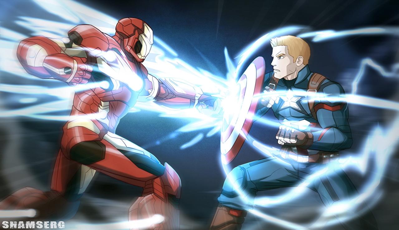 Image Captain America: Civil War Shield Iron Man hero Captain America hero Tony Stark Two Fantasy film Battles 2 Movies fighting