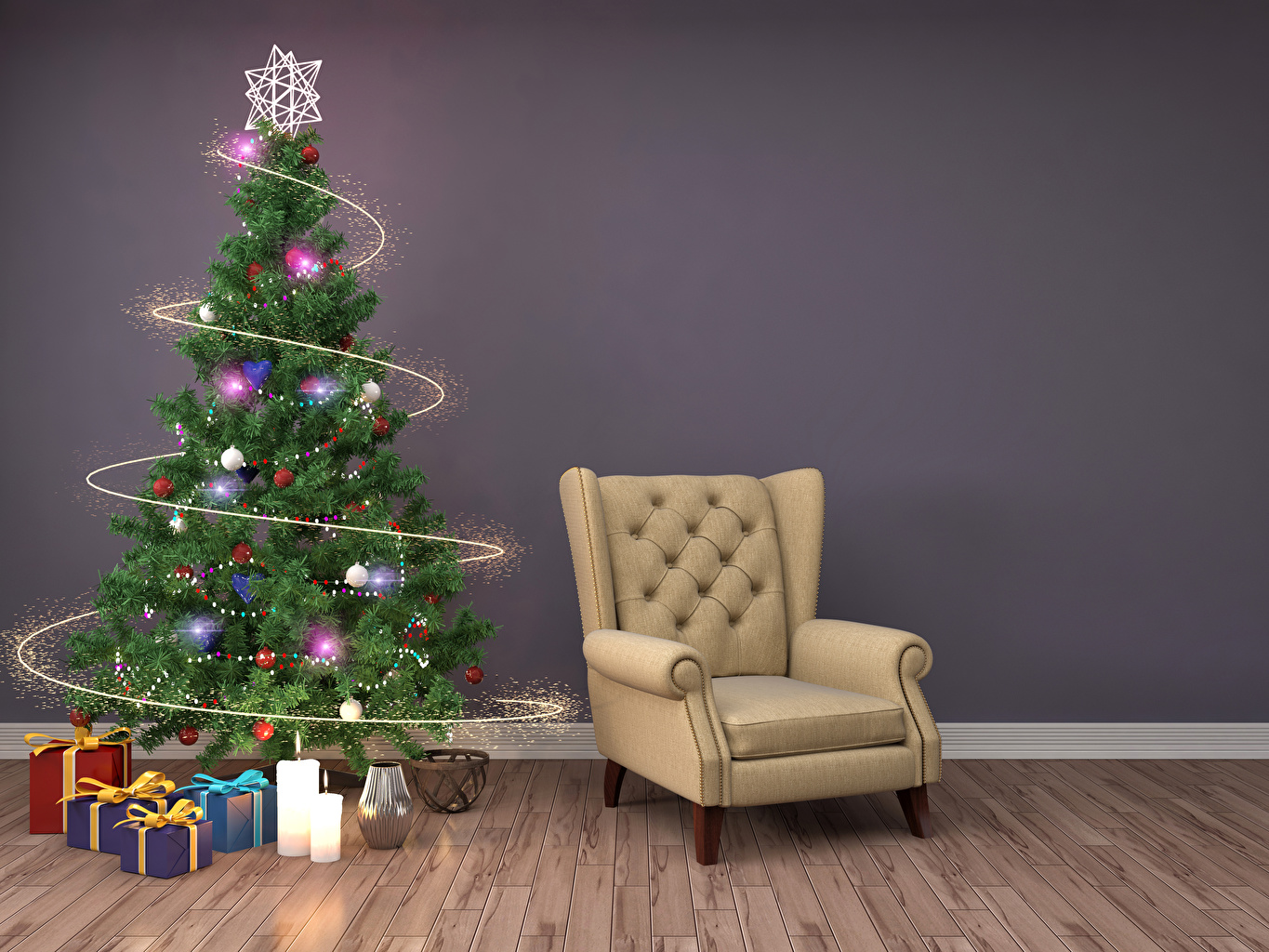Stupendous Desktop Wallpapers New Year 3D Graphics Christmas Tree Inzonedesignstudio Interior Chair Design Inzonedesignstudiocom