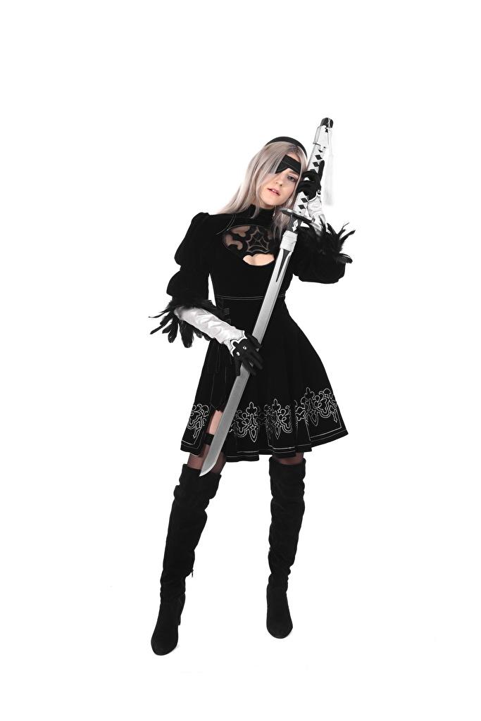 Foto Eva Elfie Piraten Schwert Blondine Nylonstrumpf Cosplay Handschuh Stiefel Mädchens Bein Hand Uniform  für Handy Blond Mädchen junge frau junge Frauen