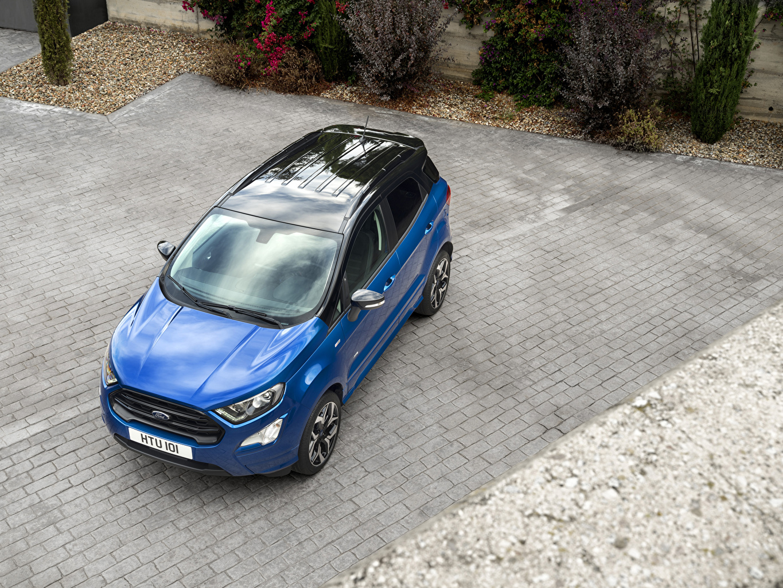 Bilder Ford 2017 EcoSport ST-Line Blå bil Ovenfra Metallisk Biler automobil