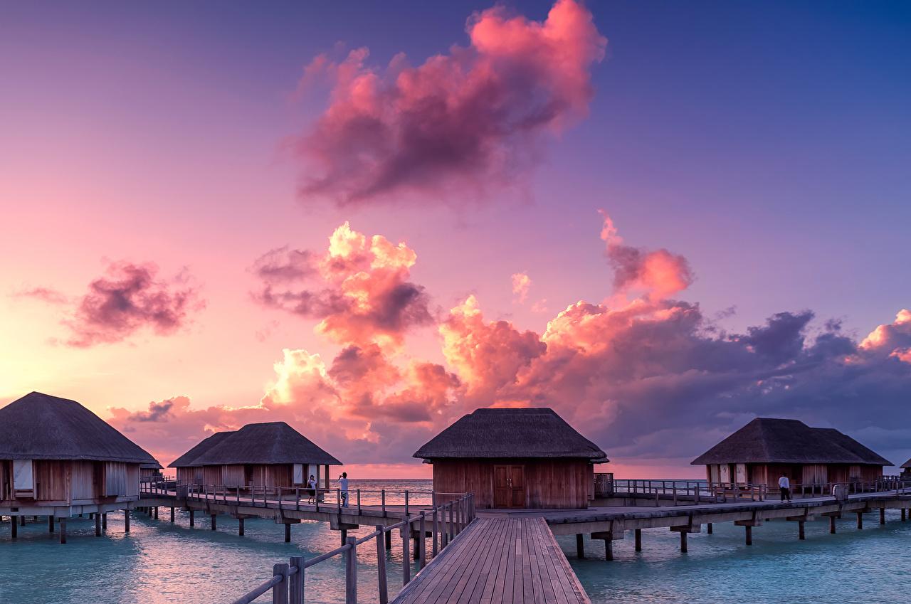 Fonds d'ecran Maldives Tropique Levers et couchers de soleil Ponts Ciel Bungalow Nuage Nature ...