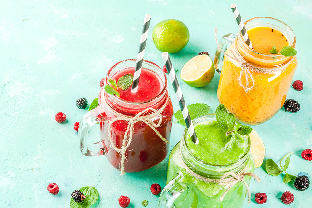 Wallpaper Smoothie Lime Jar Raspberry Blackberry Food Three 3 Colored background smoothy
