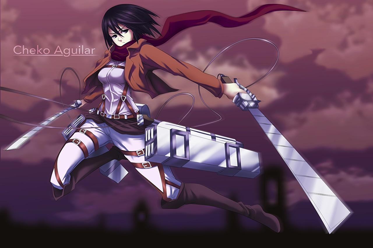 壁紙 進撃の巨人 ウォリアーズ Mikasa Ackerman 剣 アニメ 少女 ダウンロード 写真