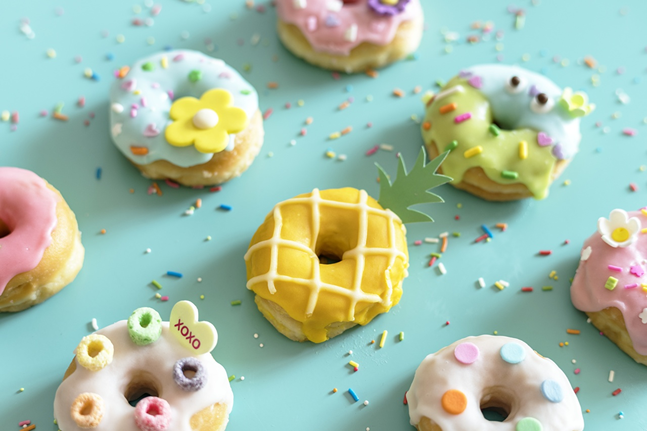 Pictures Doughnut Icing sugar Food Donuts
