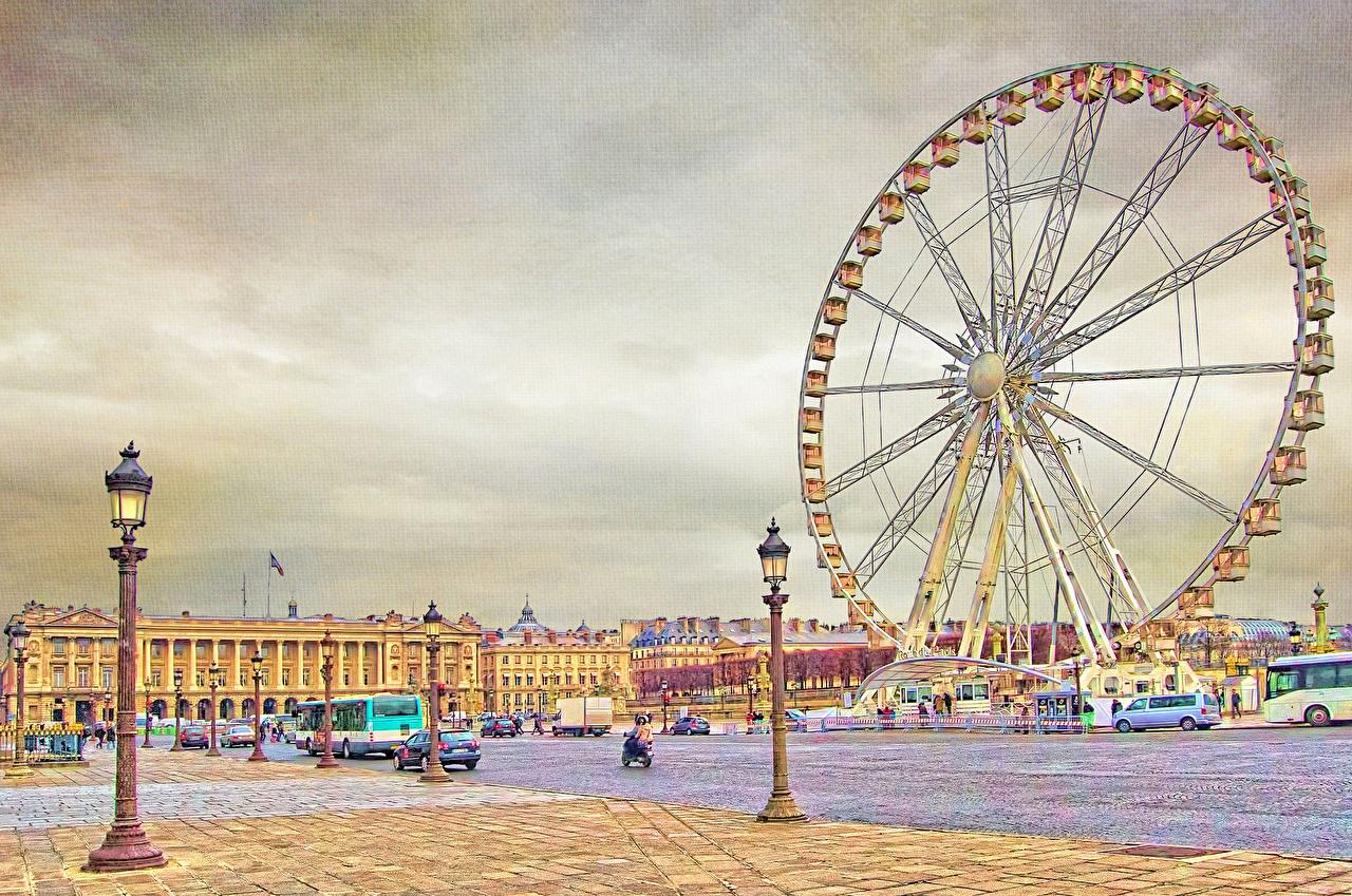 壁紙 フランス ストリート 街灯 観覧車 パリ 都市 ダウンロード