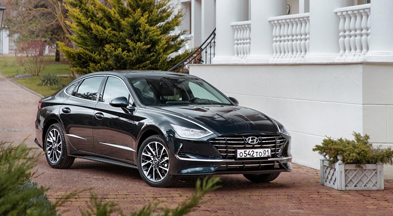 Desktop Wallpapers Hyundai Sonata, RU-spec, 2019 Sedan Black auto Cars automobile