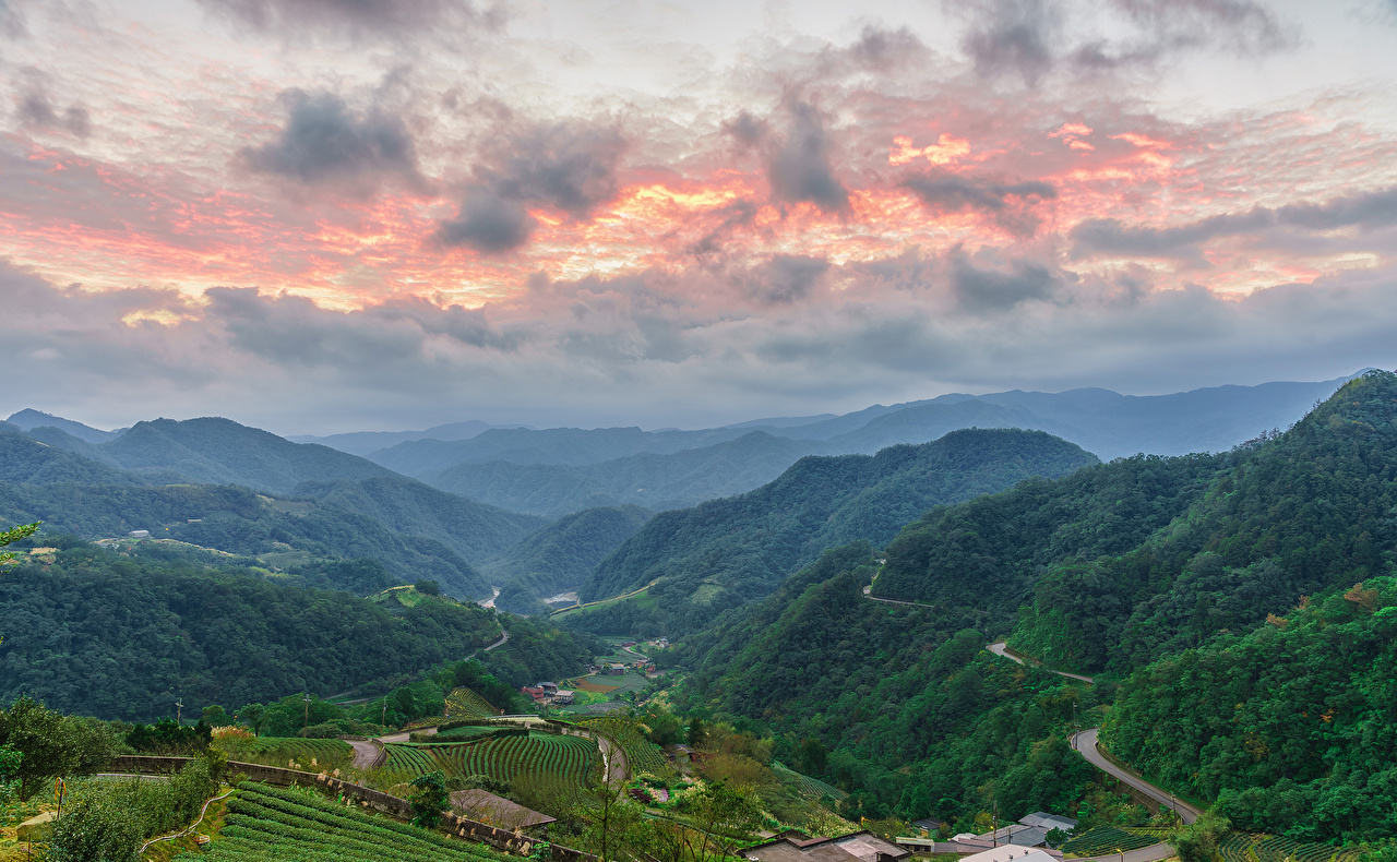 Desktop Wallpapers Taiwan Taipei Nature mountain Sky Fields Scenery Forests Mountains forest landscape photography