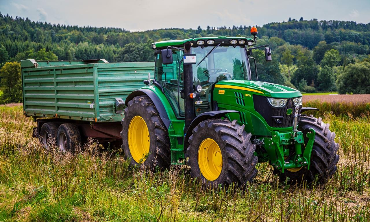 Wallpaper tractors John Deere 6150r, 4WD Green Fields Grass Tractor