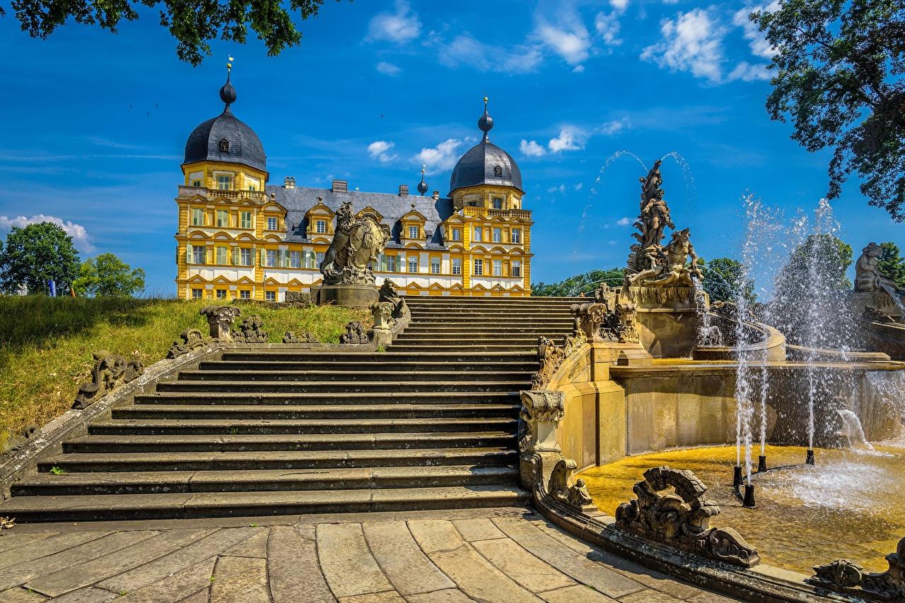 Achtergrond Paleis Duitsland Fontein Memmelsdorf Seehof Palace Een trap Steden fonteinen trappen een stad