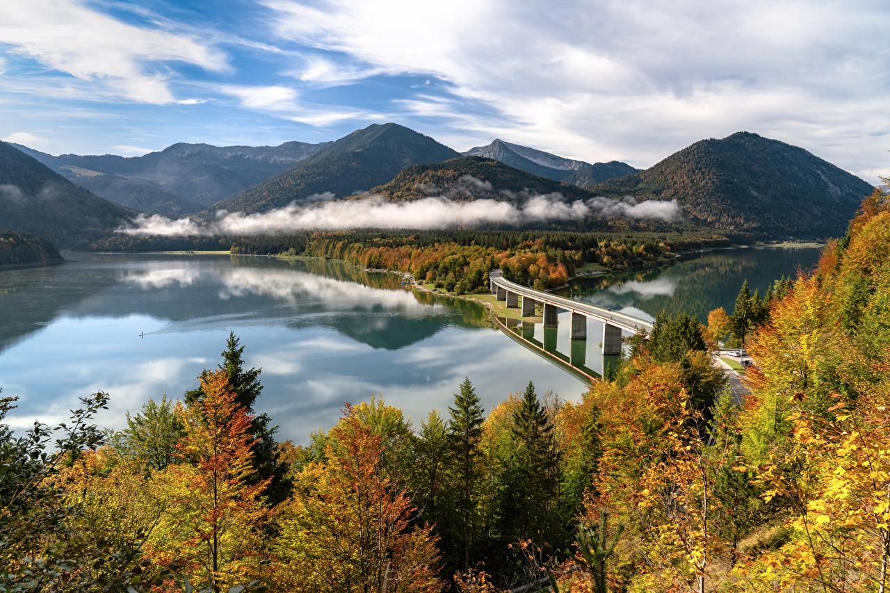 Photo Bavaria Alps Germany Autumn Nature Bridges mountain landscape photography river bridge Mountains Scenery Rivers