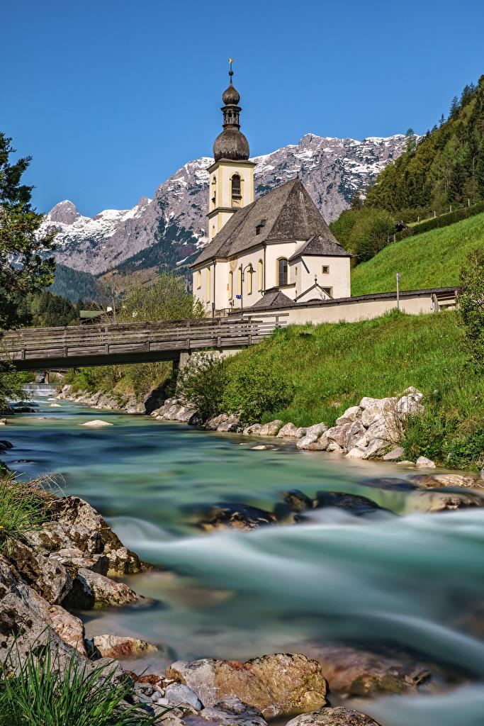 Images Church Bavaria Alps Germany Berchtesgadener Nature bridge mountain Rivers  for Mobile phone Bridges Mountains river