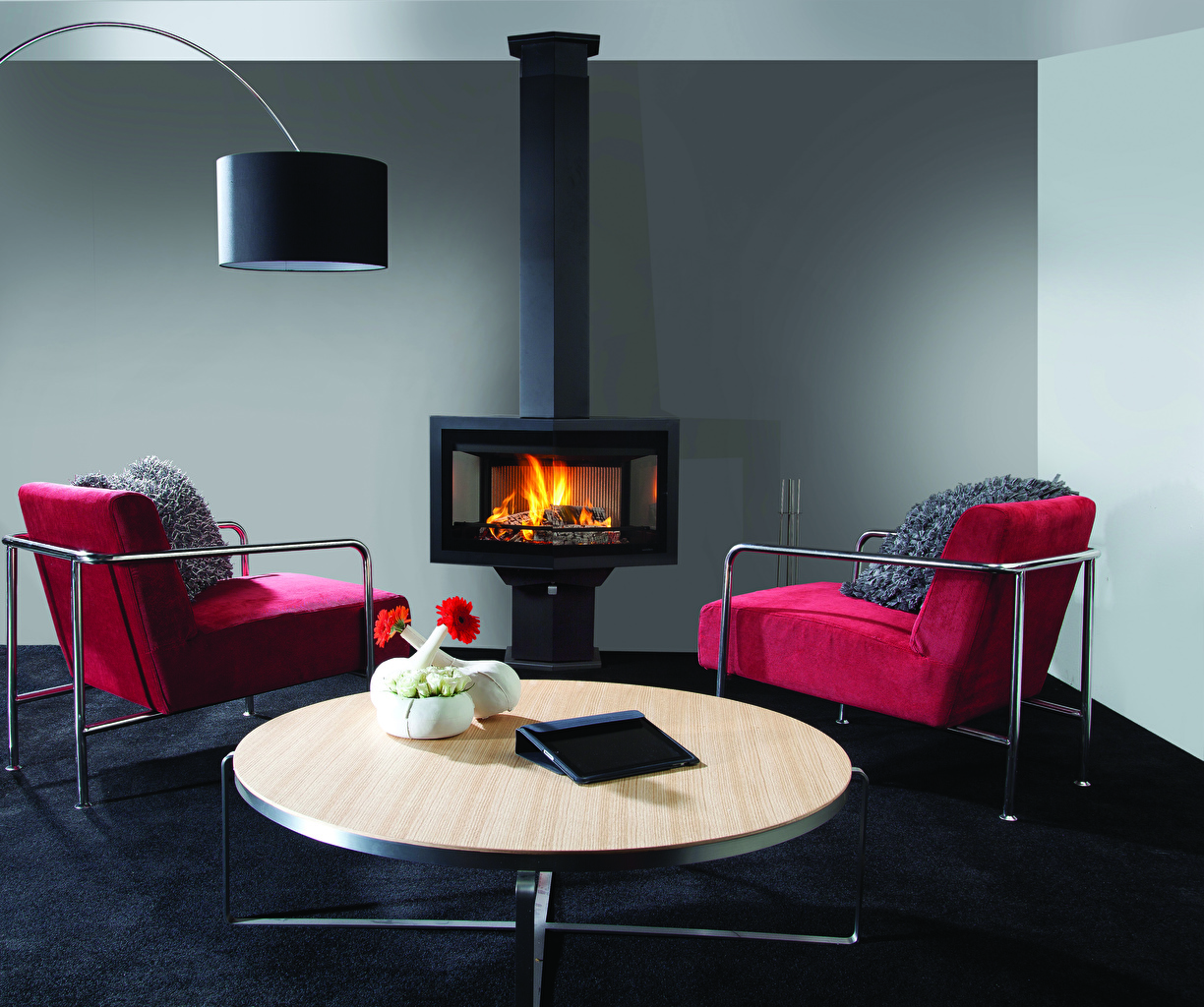 Image Living room Interior Fireplace Table Armchair lounge sitting room Wing chair