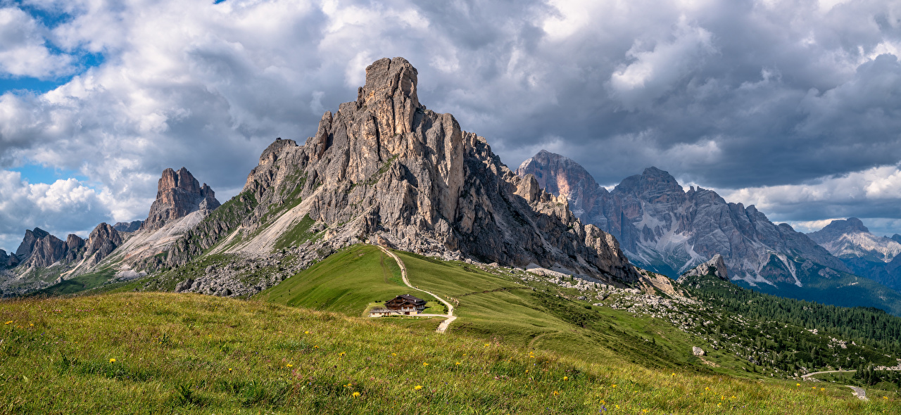 Photo Nature Italy Clouds Dolomites Rock Alps mountain Panorama Crag Cliff Mountains panoramic