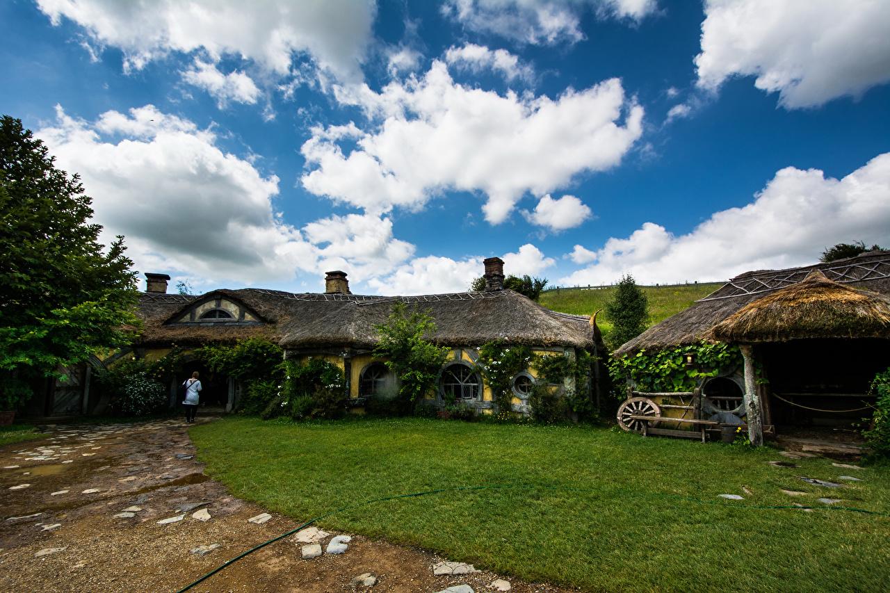 Bilder Neuseeland Hobbiton Natur Park Himmel Rasen Wolke Gebäude Haus