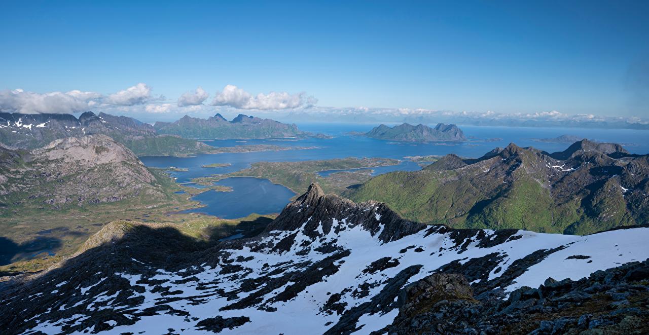 Bilder von Lofoten Norwegen Austnesfjorden Fjord Natur Gebirge Berg