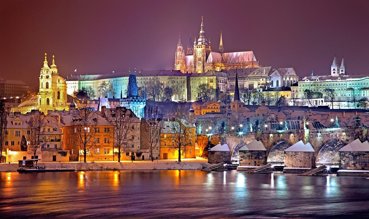 Photo Czech Republic Prague castle, Vltava Winter Night Rivers Houses Cities river night time Building