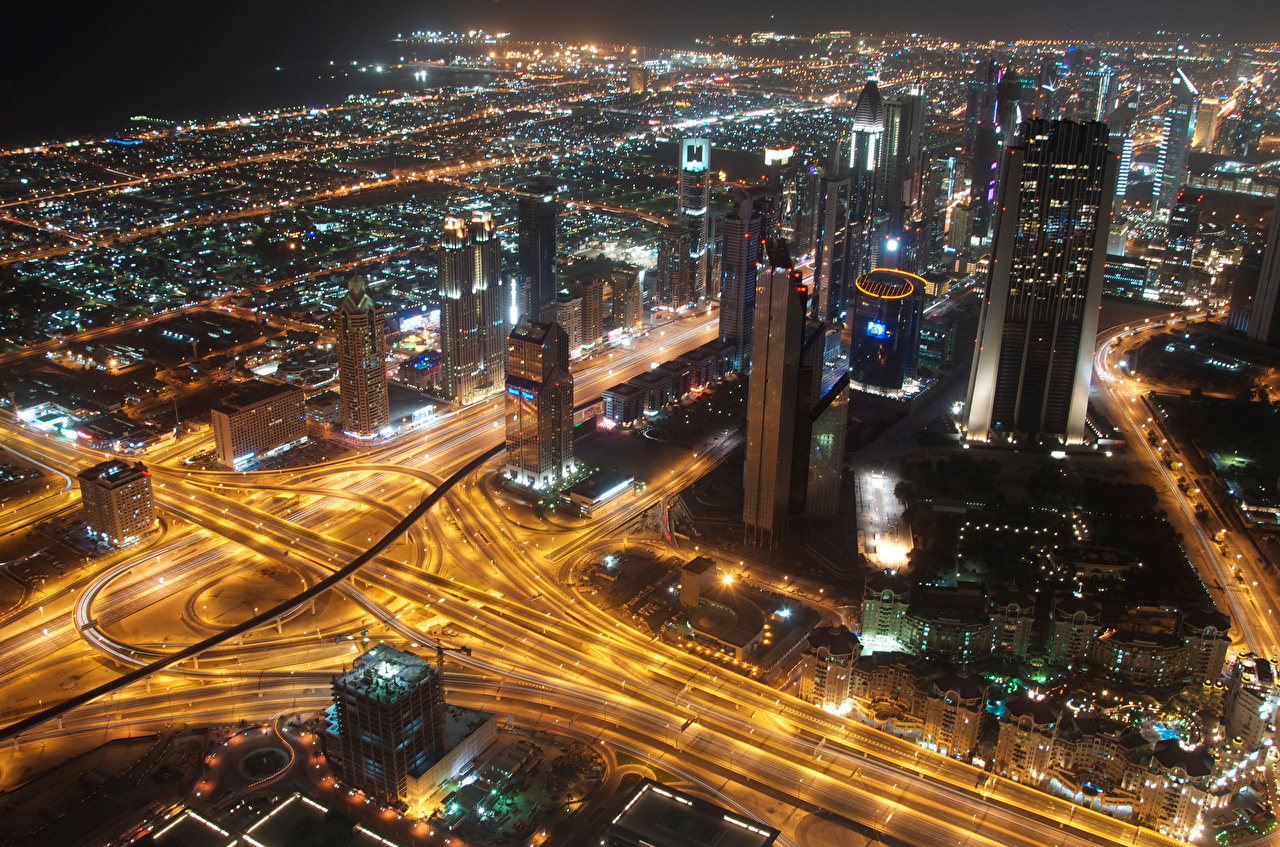 Pictures Dubai Emirates UAE Megapolis Roads night time From above Skyscrapers Houses Cities megalopolis Night Building