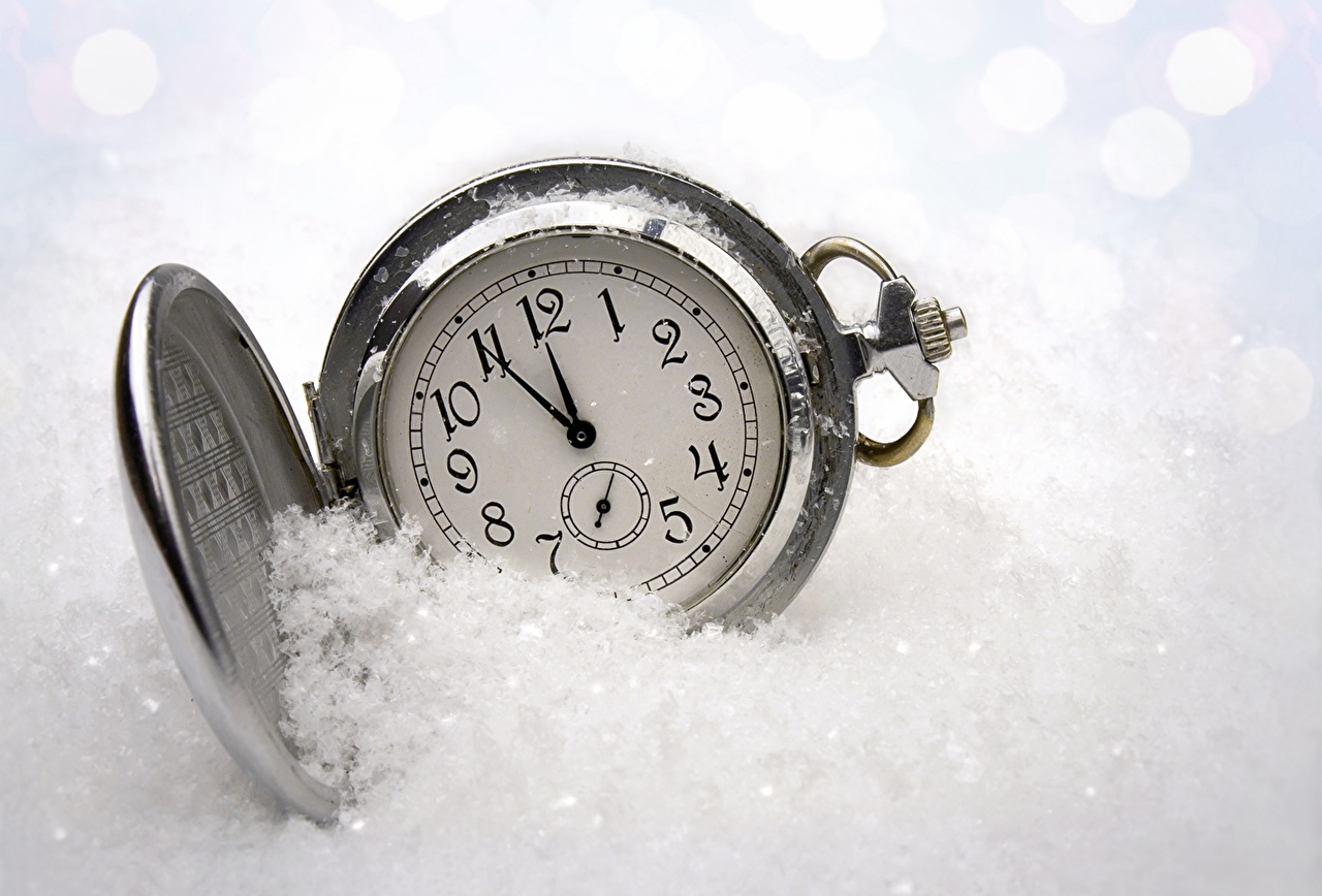 Photos Pocket watch Clock Snow Holidays