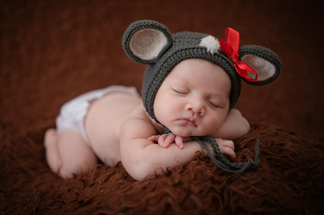 Fotos Baby Kinder Mütze schläft Asiatische Schleife Säugling kind Schlaf schlafen schlafende schlafendes Asiaten asiatisches