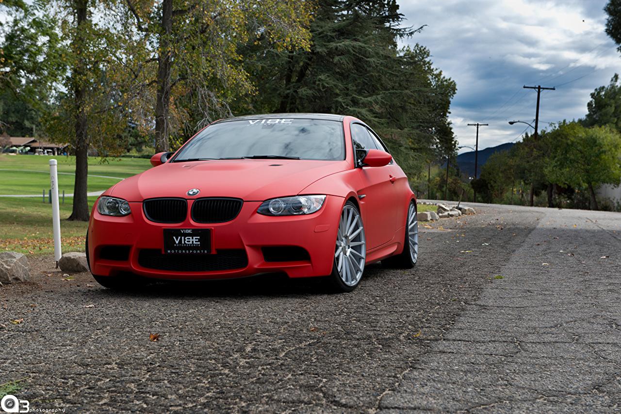 Picture BMW M3 Matte Red Cars Front auto automobile