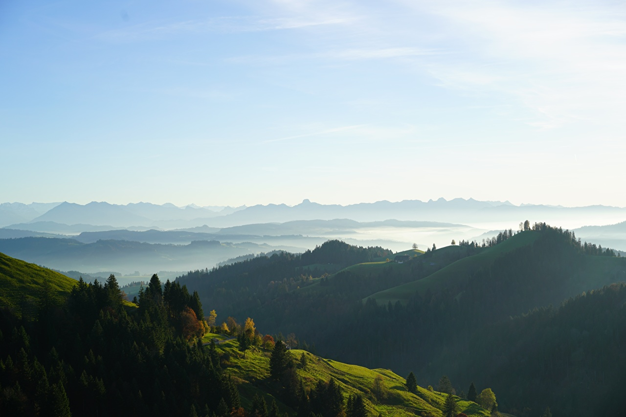 Photo Switzerland Basel-Landschaf Fog Nature Sky Hill Forests forest