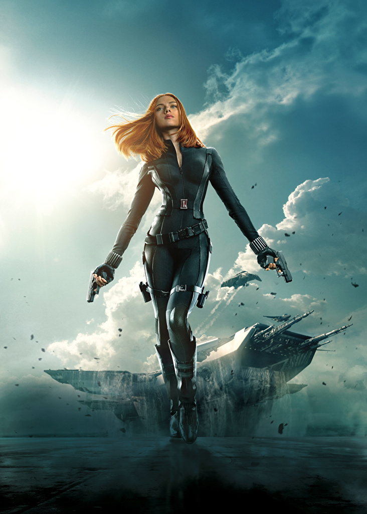 Pictures Captain America: The Winter Soldier Scarlett Johansson Heroes comics Pistols Redhead girl Warriors Black Widow Girls Movies  for Mobile phone