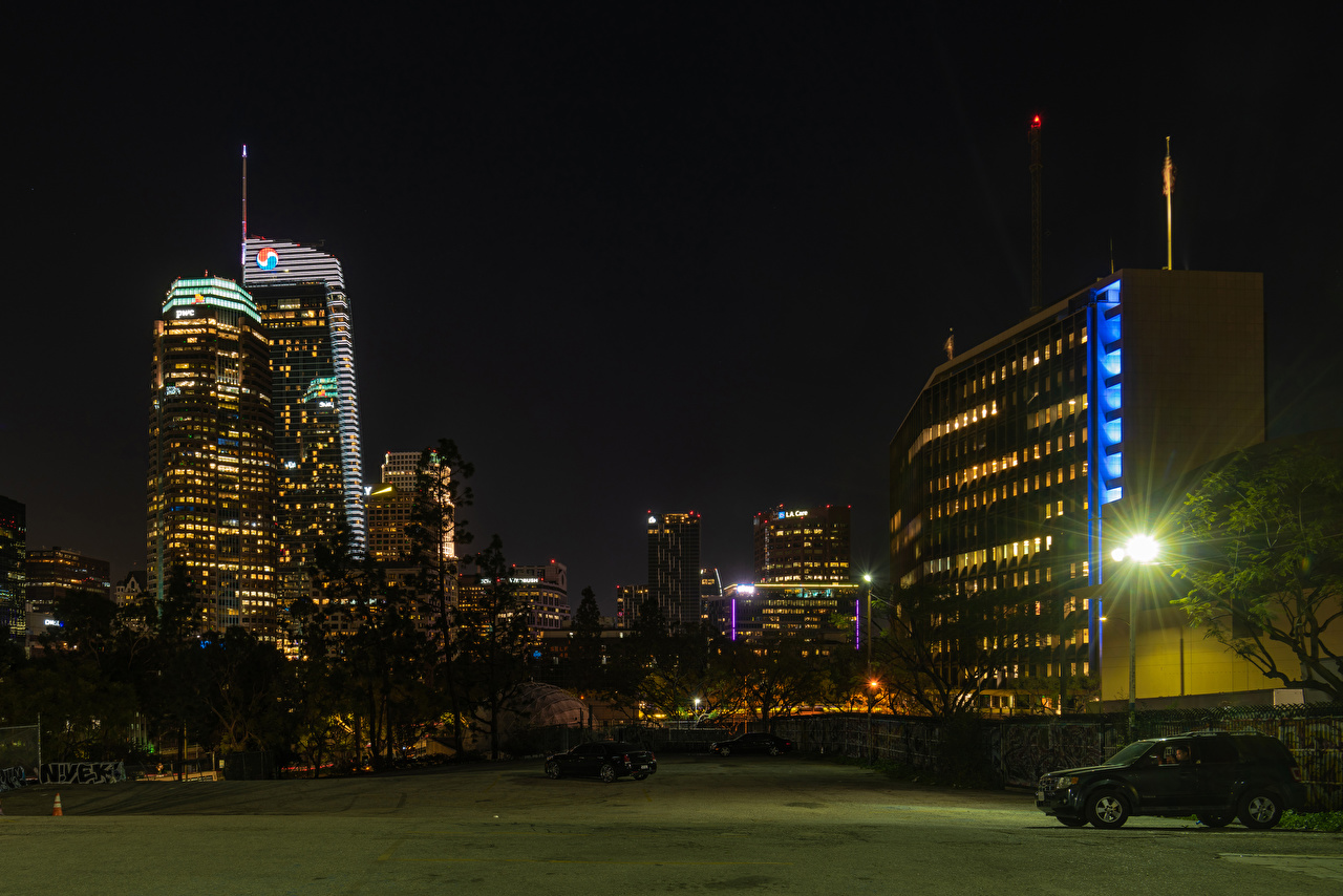 Pictures Los Angeles USA Night Street lights Houses Cities night time Building