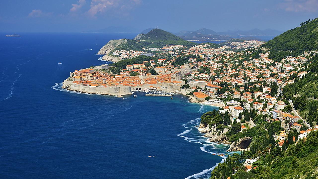 Desktop Wallpapers Cities Croatia Sea Coast Dubrovnik From above Cove