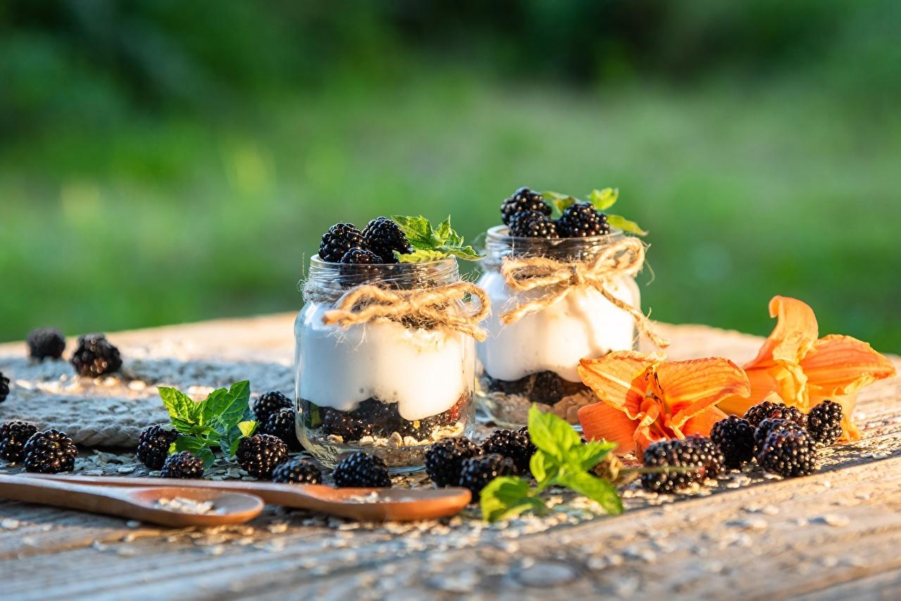 Image Yogurt Jar Blackberry Food Berry Spoon