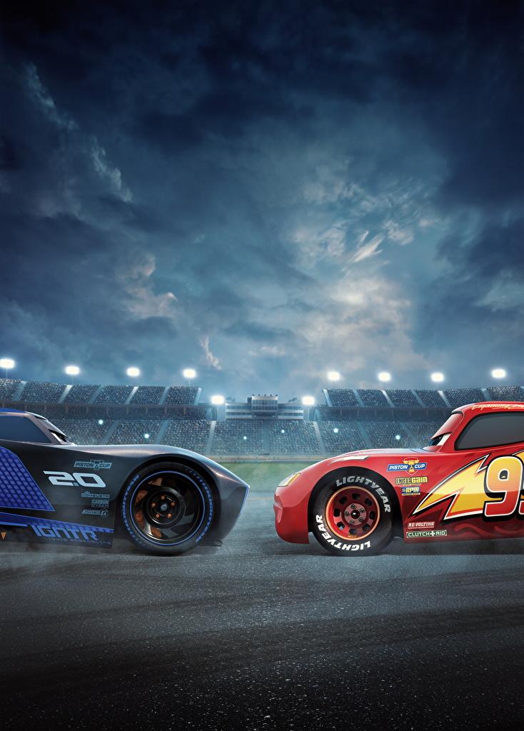 Fotos Cars 3 Lightning McQueen, Jackson Storm Zwei Animationsfilm 2 Zeichentrickfilm
