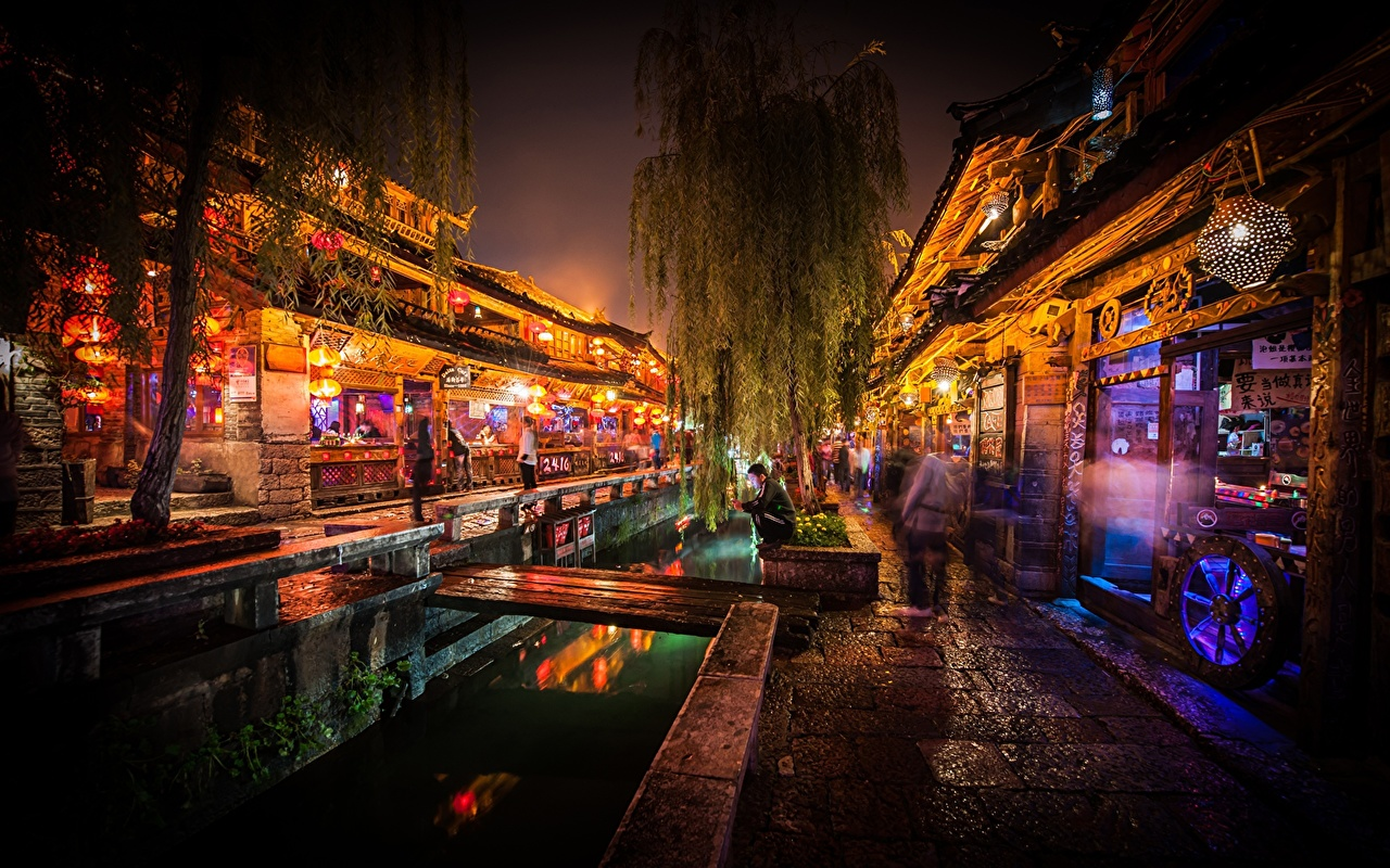 Images China Lijiang market Canal Street Night Cities night time