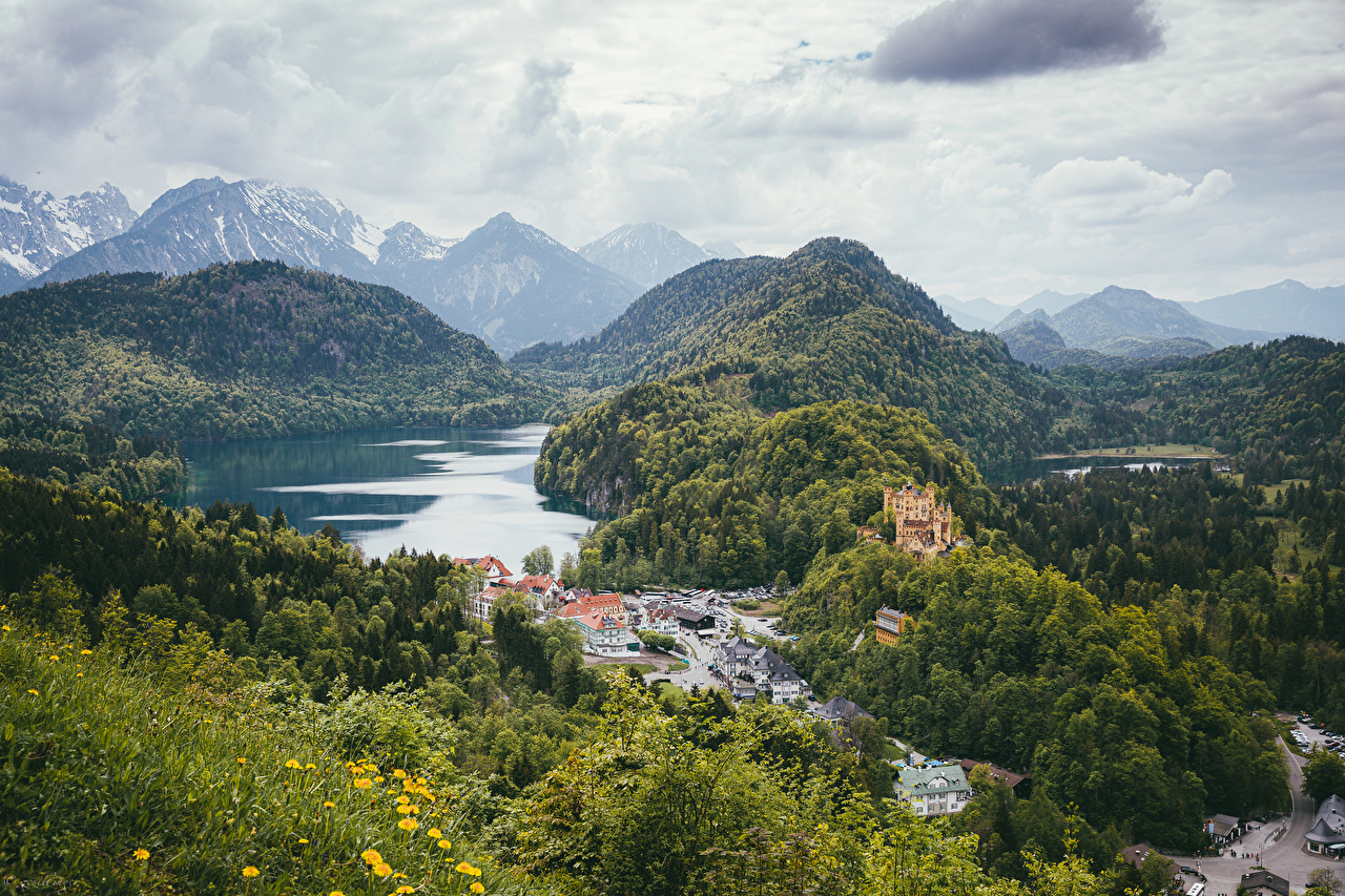 Image Germany Hohenschwangau Bayern Nature Castles Mountains Lake Forests landscape photography Houses castle mountain forest Scenery Building