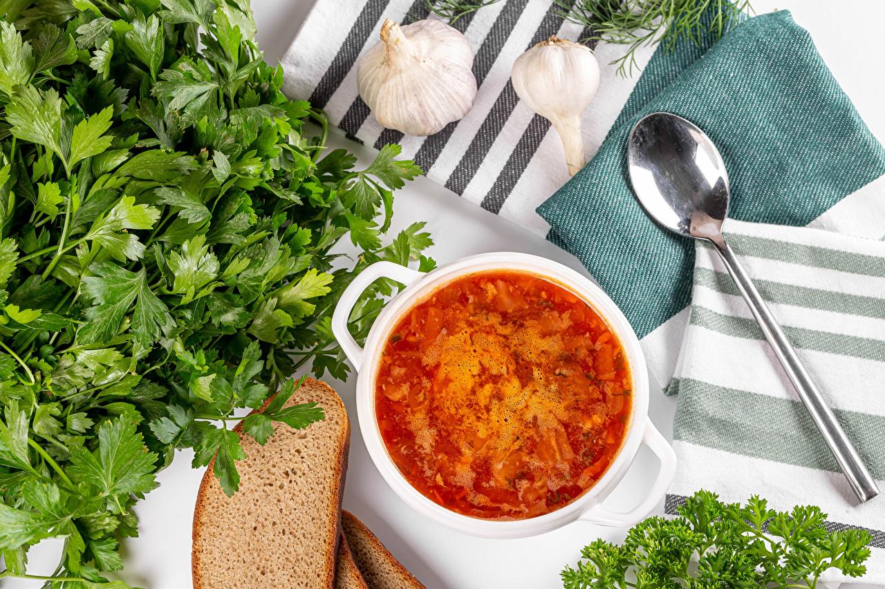 Photo parsley Borscht Bread Garlic Food Soups Spoon Vegetables Allium sativum