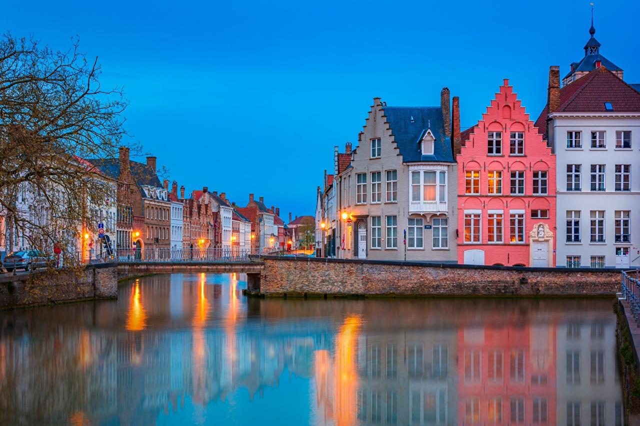 Images Bruges Belgium Canal Bridges Evening Cities Building bridge Houses