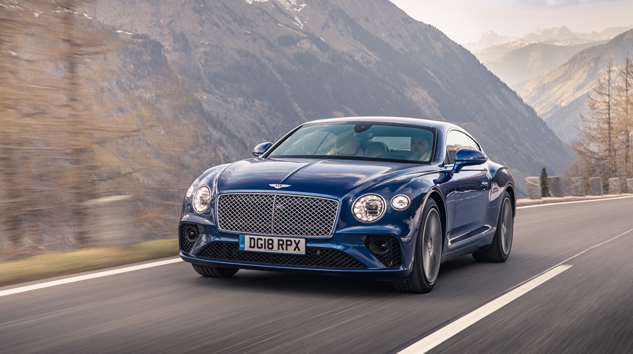 Picture Bentley Continental GT Sequin Blue driving Cars moving riding Motion at speed auto automobile