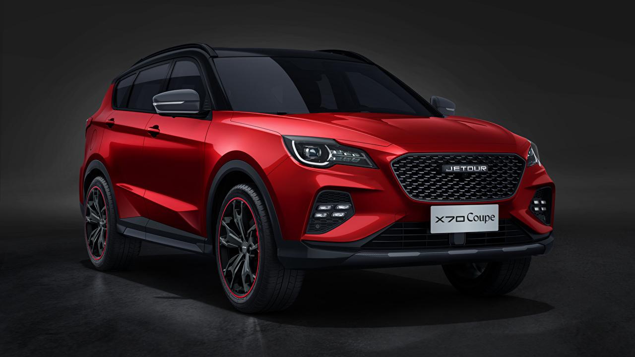 Chery Jetour X70 Coupe, 2020 Vermelho Metálico Na frente Crossover carro, automóvel, automóveis Carros