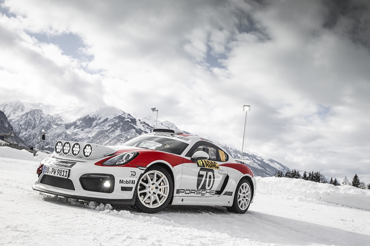 Picture Tuning Porsche Cayman GT4 rally Snow Cars auto automobile