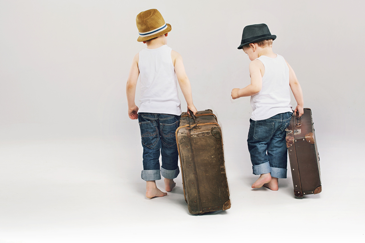 Picture Boys Children 2 Hat Jeans Suitcase Sleeveless shirt White background child Two Singlet