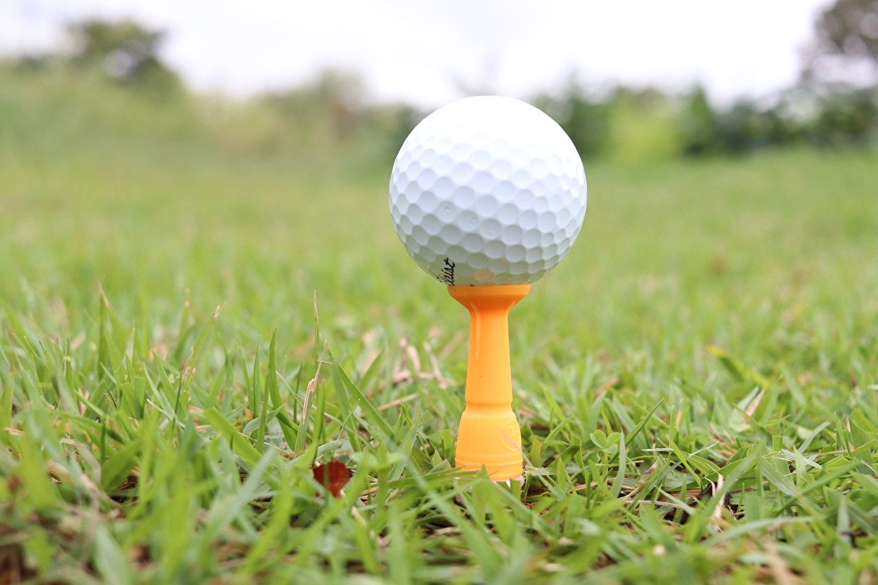 Picture Bokeh Golf athletic Ball Grass Closeup blurred background Sport sports