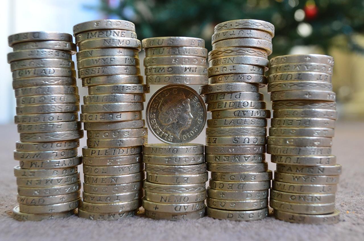 Desktop Hintergrundbilder Münze pounds Geld Viel Großansicht hautnah Nahaufnahme