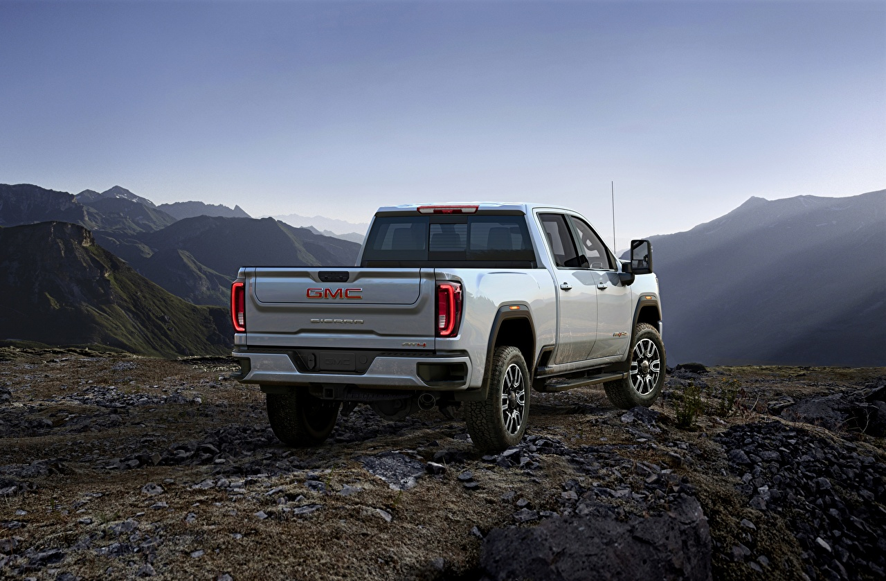 Images GMC Sierra, AT4, 2020 Pickup White Metallic Back view automobile General Motors Company Cars auto