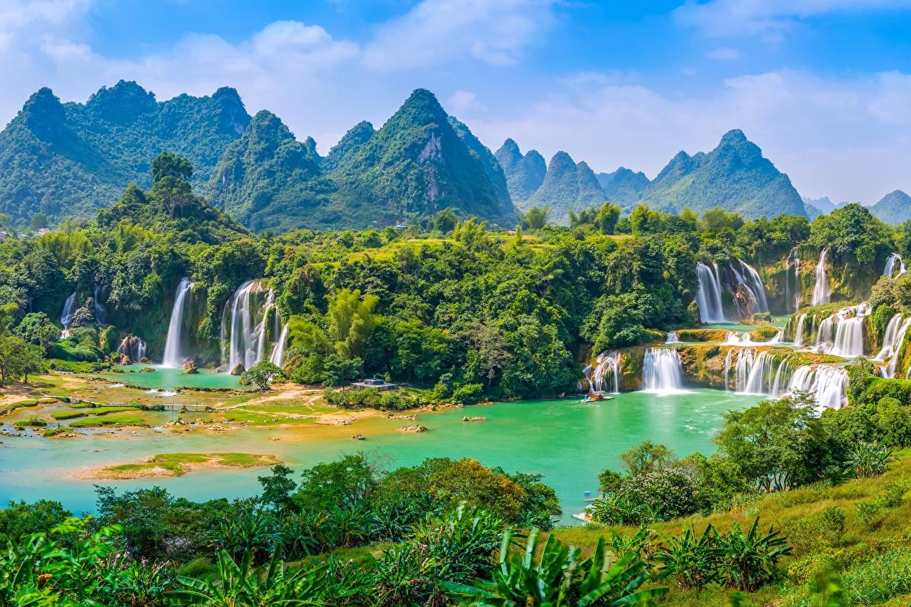 Photo Vietnam Detian Waterfall, river Cuison Nature mountain Waterfalls forest Mountains Forests Rivers